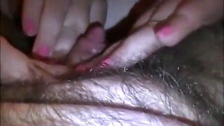 Lesbian girl sucks on the big clit of her gf