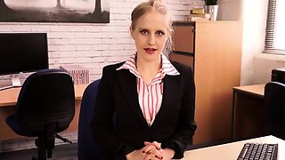 Naughty blonde secretary in stockings is aching for pleasure