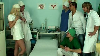 Dirty doctor Alexa drops on her knees to be fucked by a lot of guys
