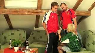 Football fans fuck very old blonde grandmother