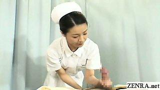Subtitles CFNM two Japanese nurses handjob with cumshot