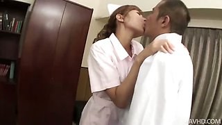 Raunchy Nurse Aoba gives her Doctor the blowjob of his