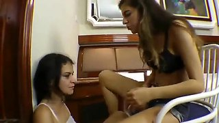 Brutal lesbian foot gagging