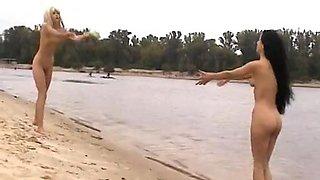 Hawt Dilettante Russian Angels Doing Nudism On Public Beach