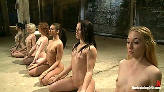Seven sex slave girls show their nude bodies to their master