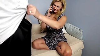 Busty milf made her boss cum while phone talking to husband
