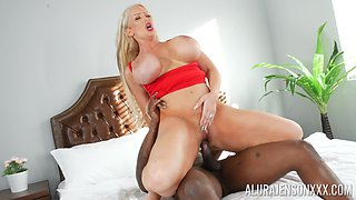 Cheating whore of a wife Alura Jenson rides her black lover