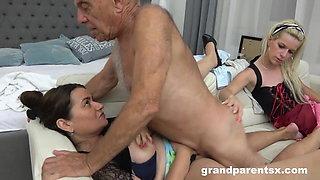Granny and Maid Dust Off Grandpa's Cock