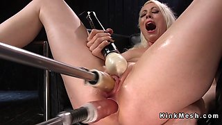 Blonde Milf fucks double penetration machine