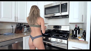 Hot sister helps step brother, kitchen fuck