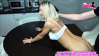 german skinny blonde milf fuck on table with nice tits