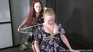 Lesbian slave Satine Spark stretchbank bondage and lezdom domination