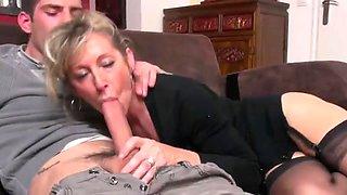 gorgeous MILF takes junior cock