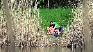 Horny mature couple enjoying wild sex action in the outdoors