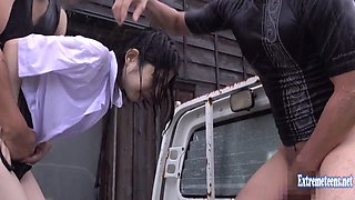 Idol Okabe Riis Attacked On The Back Of Flatbed Truck Innocent Looking Schoolgirl Fucks Outdoors