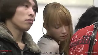 JAPANESE BLONDE GIRL MOLESTED BY OLD MAN IN BUS ENG SUB tia bejean