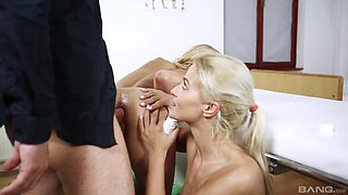 Nikky Thorne and Cherry Kiss get ass fucked by one horny doctor