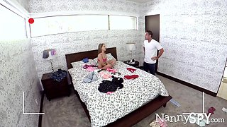 Cute nanny isn't wearing any panties and that babe wants to fuck her boss