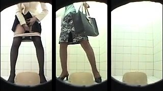 Amateur Asian schoolgirls going to the toilet on hidden cam
