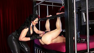 Strapon mistress and tied slave