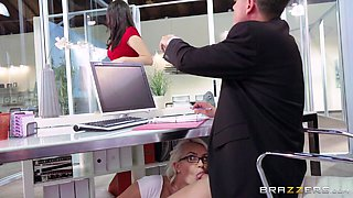 Smoking hot blonde secretary Gigi Allens fucks the boss