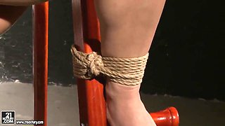 Poor Salome is tied to a ladder and exposed