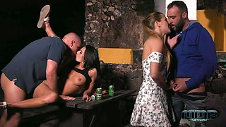 Two Czech couples have crazy sex fun on the table outdoor