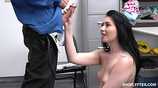 Sexy young brunette Aliza Haze is punished for shoplifting